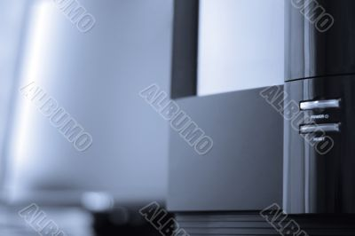 Desktop station with liquid crystal display. Close-up #1