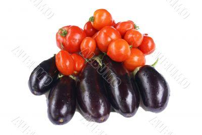 Harvest - tomatoes & eggplant