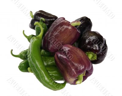 Peppers & eggplant, isolated