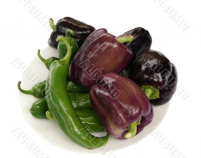 Peppers & eggplant on a plate,