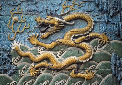 Dragon tiles on screen wall