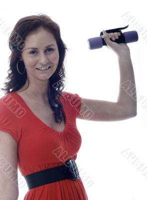 pretty girl in red exercising