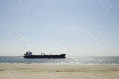 big cargo-boat near the coast