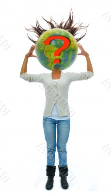 woman with head in the manner of globe