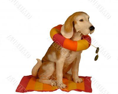 Beach dog statue