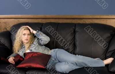 Model on Couch