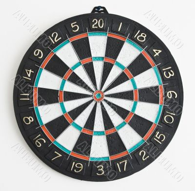 The dartboard on the wall