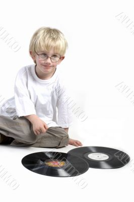 Toddler surprised by vinyl