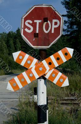 Railway warning stop sign