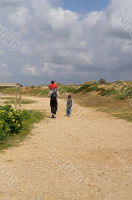 Family walk on a weekend