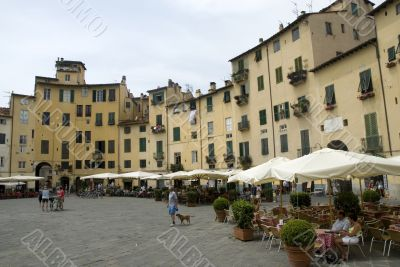 Famous square in Lucca Italy