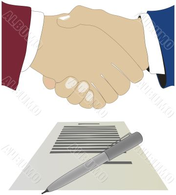 Hand shake above the document. The vector image.