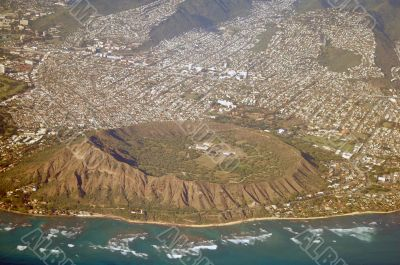 Aerial View Diamond Head Hawaii