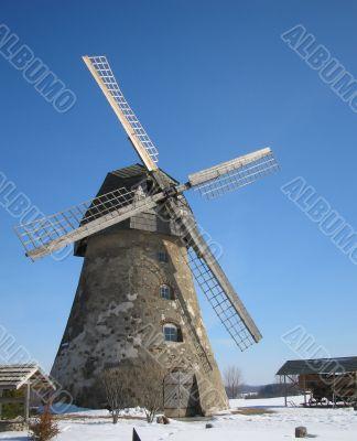 Wind mill in winter