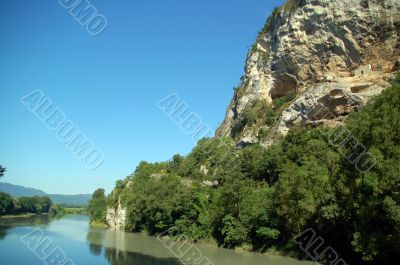 A river view over the rhone in savoie in france