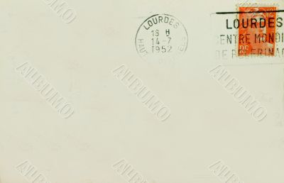 Lourdes Souvenir Postcard Back With Postmark