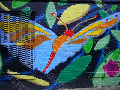 Colorful Community Mural Of Butterfly