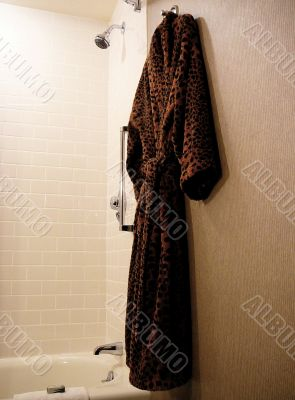Leopard Print Terry Bathrobe in a Bathroom