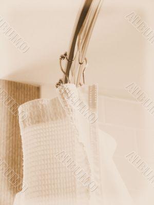 White Shower Curtain in Bathroom