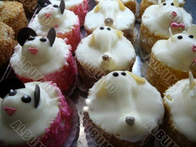 Animal Cakes in Bakery Display