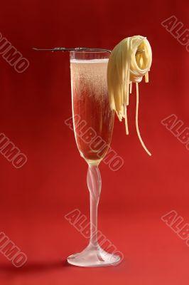 champagne with a spaghetti