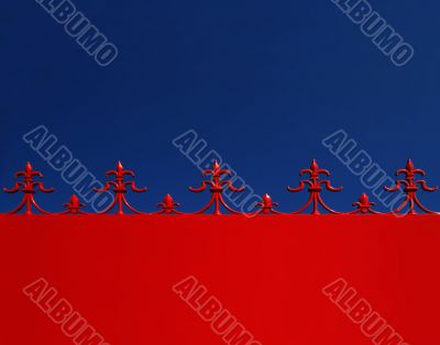 Red & blue architectural motif