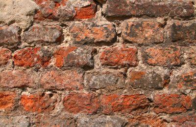 close-up of ruined brick wall
