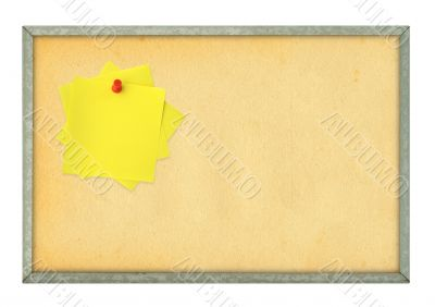 corkboard and adhesive notes