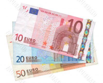 three Euro banknotes
