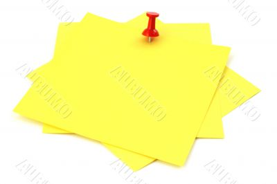 three yellow sticky notes