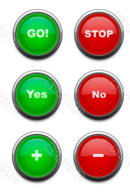 Red and green web aqua buttons