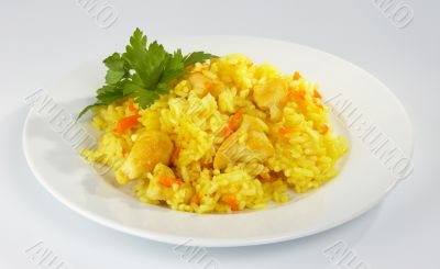 Pilaf with the hen.