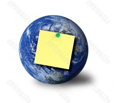 globe and adhesive note