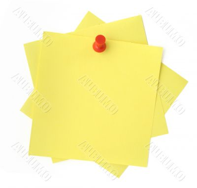three yellow sticky notes