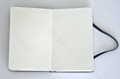 Notebook with blank page & bookmark