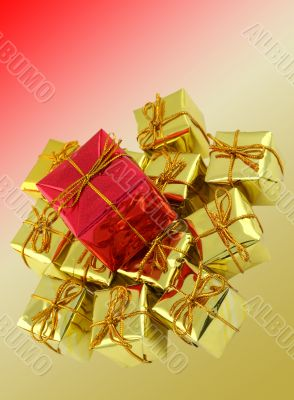 gifts arrangement on multicolored background
