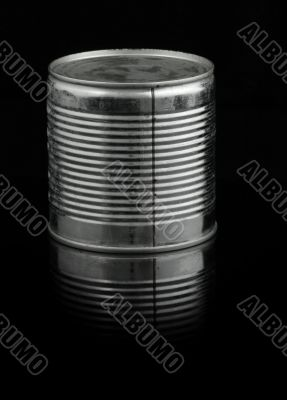 food tin can on black