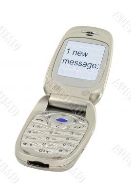 mobile phone with ONE NEW MESSAGE text