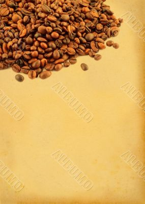 coffee beans with retro copy space - vertical