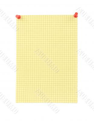 yellow blank thumbtacked squared paper page