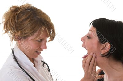 Female doctor checking out her patient
