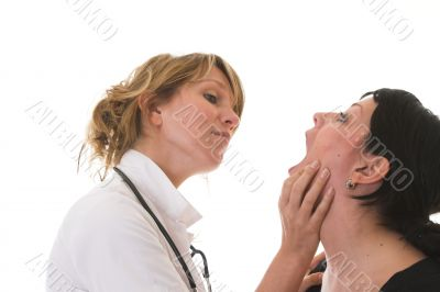 Checking her patient