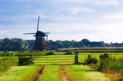 dutch windmill landscape