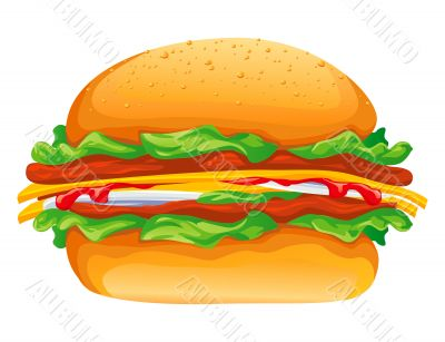 hamburger rasterized vector illustration