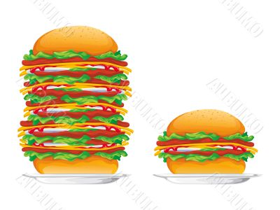 hamburgers rasterized vector illustration