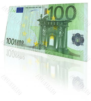 euro note with reflection