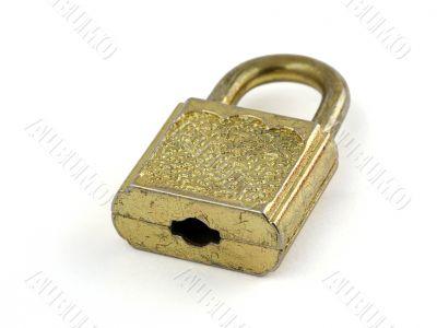 old padlock on white