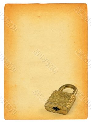 old paper page and padlock