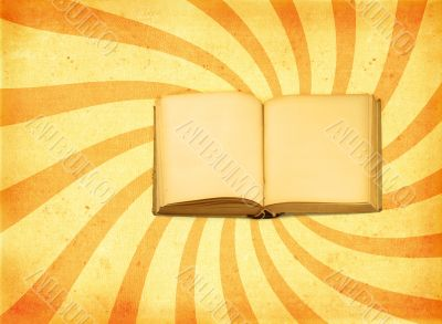 old open book against decorative retro background