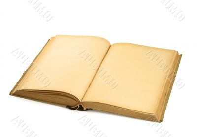 open old blank book on white #3